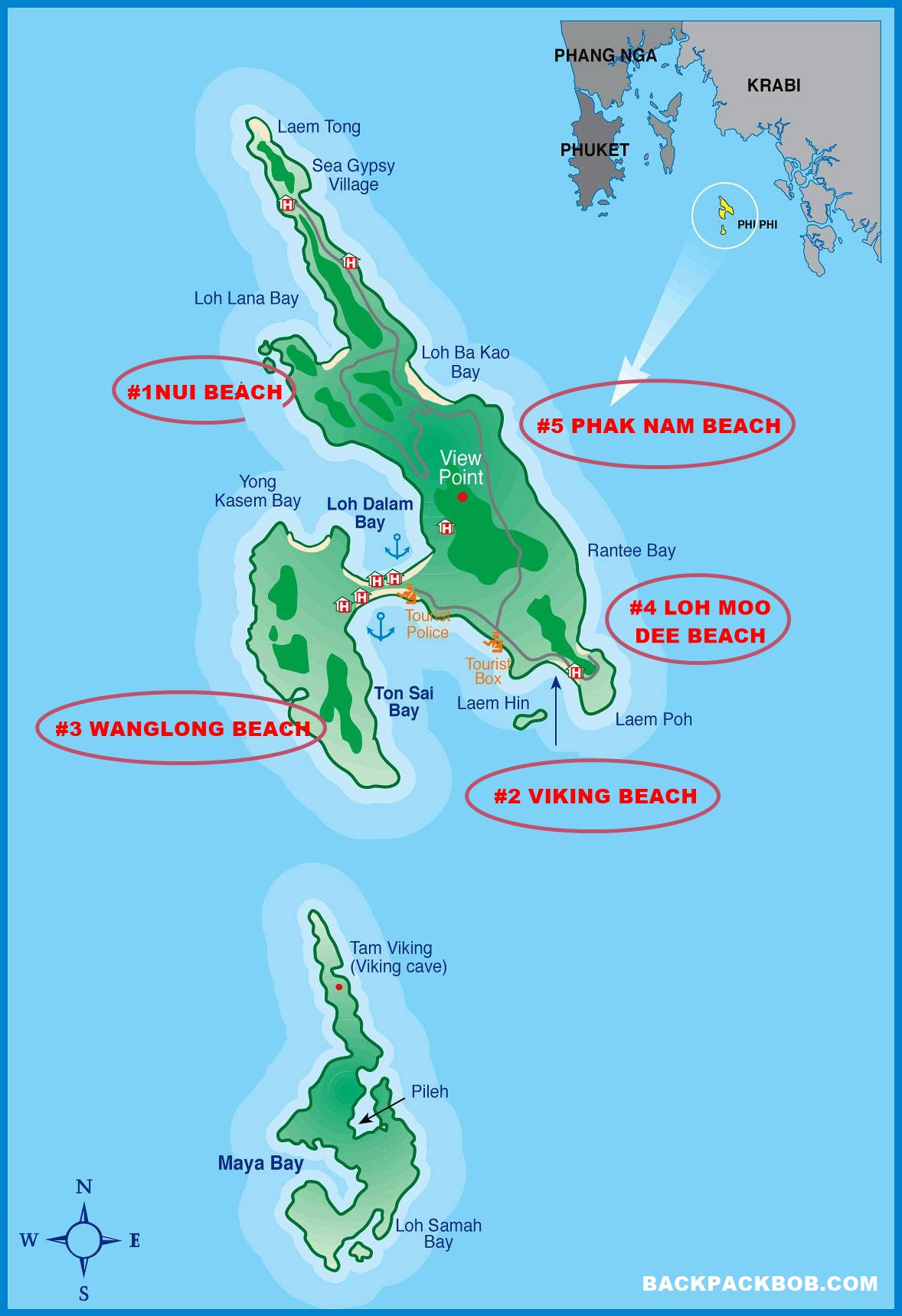 best beaches on phi phi islands map