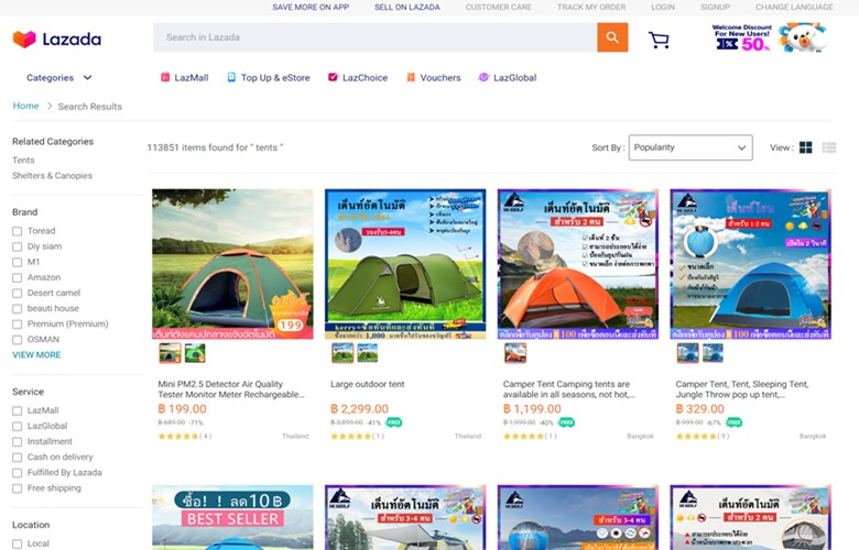 buying camping gear online in thailand