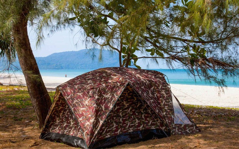 camping in koh adand tent on the beach