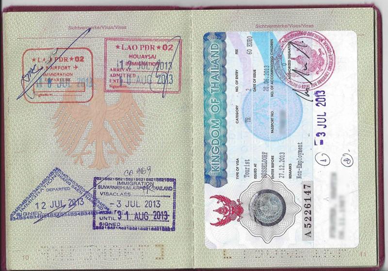 thaialnd tourist visa passport