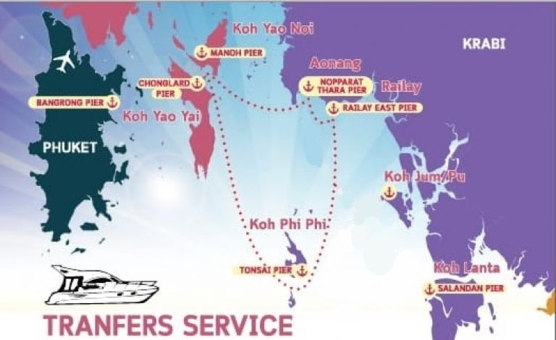 travel from phi phi island to koh yao islands speedboat map