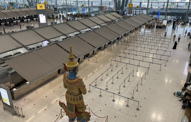 bangkok airport closed and without passengers during the coronavirus pandemic