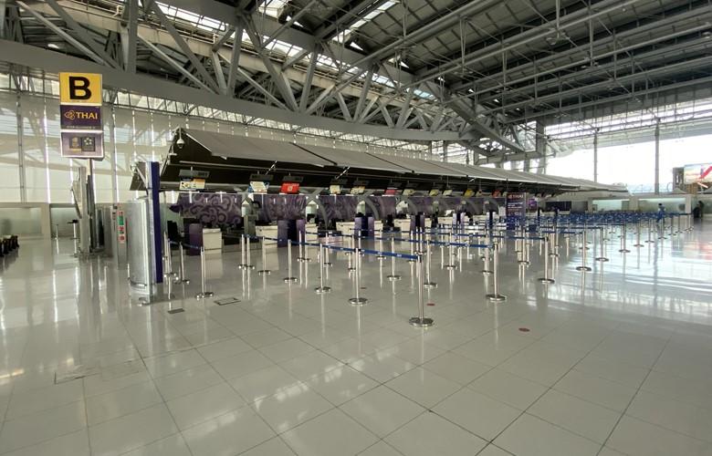 bangkok airport empty check in counter coronavirus