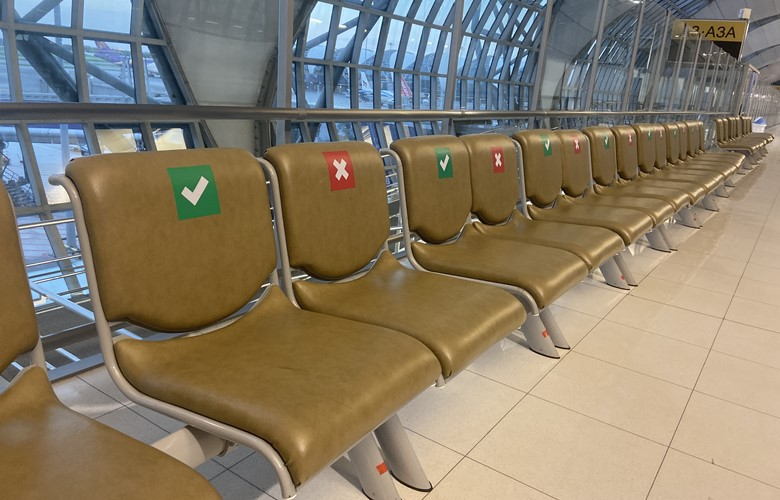 social distanced seating in bangkok airport flaying after the coronavirus what is flying like covid